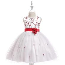 2019 Summer Embroidered Flower Mesh Princess Dress Girl Birthday Wedding Party Elegant Kids Dresses For Girls