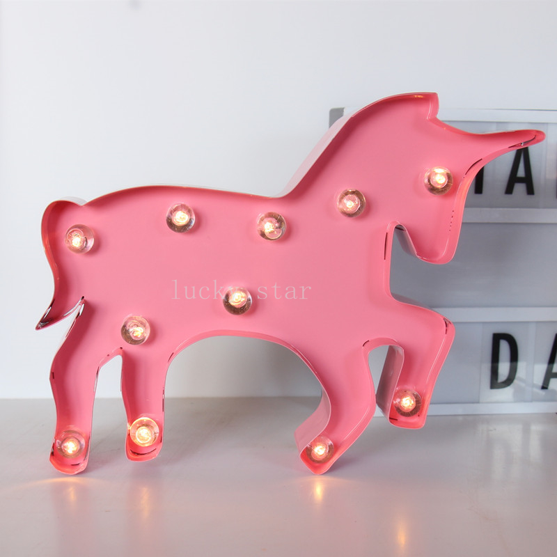 12inch metal Unicorn shape LED Marquee Sign LIGHT UP Indoor Deration metal bar led marquee sign light up vintage signs light bar indoor deration page 2