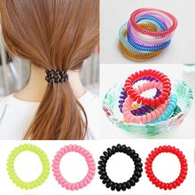 Lady Rubber Women Super Thin Telephone Wire Hair Ropes Ties Plastic Band New Colorful 1PC/5PCS Girls