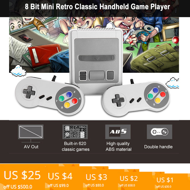 US $21 36 30% OFF|Built in 620 Classic Games 8 Bit Mini Retro Classic  Handheld Game Player Family TV Video Game Console AV Out video game for  kids-in