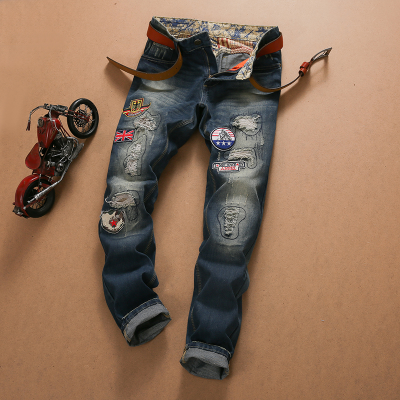 Brand Clothing Mens Jeans Embroidered Denim Jeans Hole Vintage Washed Ripped Trousers Dark Blue Bedge Patchwork