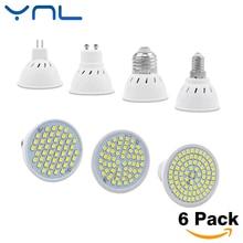 YNL 6pcs/lot Lampada LED Bulb GU10 E27 E14 MR16 3W 5W 7W 220V 240V Bombillas LED Lamp SMD 2835 48LED 60LED 80LED Spotlight