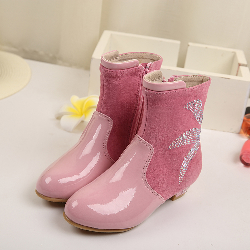 High Quality 2016 New Fashion Winter Autumn New Children Snow Boots Warm Flock Girls Kids Shoes Waterproof High Boots SHXD037 high quality kids boots girls boots fashion leather snow boots girls warm cotton waterproof girls winter boots kids shoes girls
