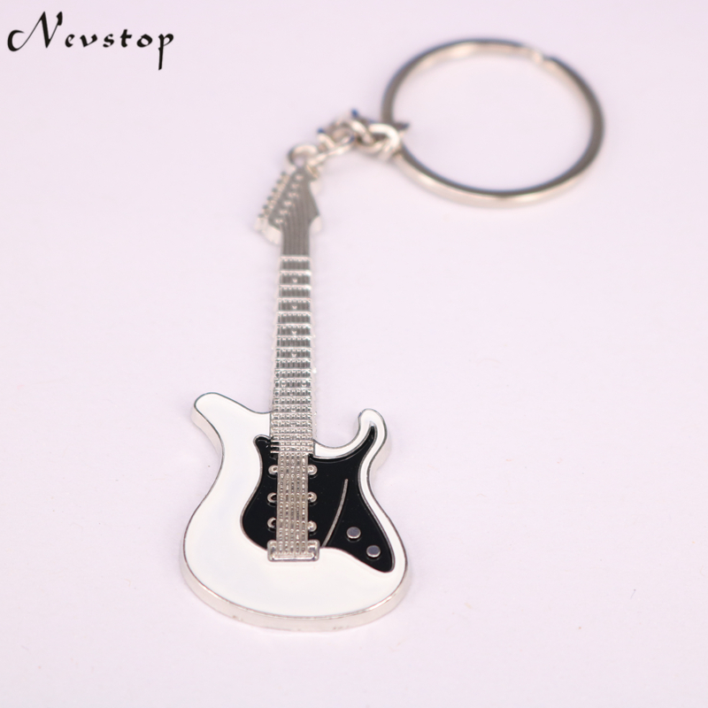Guitar Keychain 1PC Unisex White And Black Guitar Key Chain Classic Buckle Key Ring