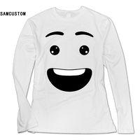SAMCUSTOM Nova Moda Camisa de Manga Comprida T Mulheres Feliz rosto sorridente pacote de impressão 3D Personalidade T-shirt do sexo feminino casual