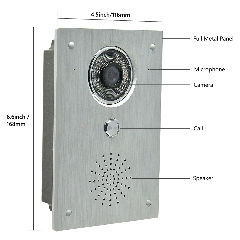 7 LCD monitor video intercom video door phone system video interphone doorbell kits IR Night Vision aluminium alloy Camera