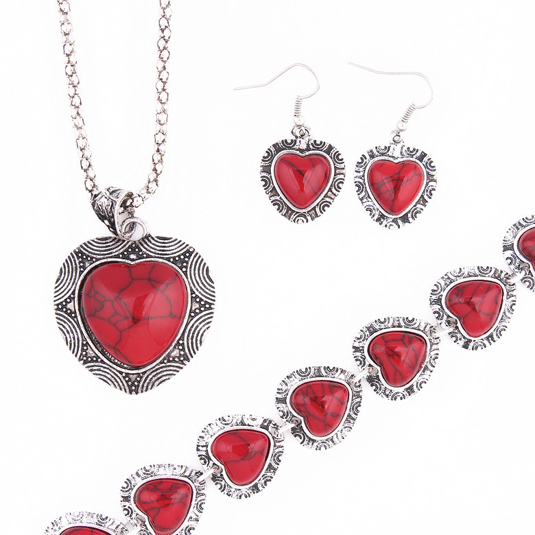 Hot sale Big Promotions Women Antique Heart Red stone Natural Necklace Earrings Bracelet Vintage Jewelry Sets
