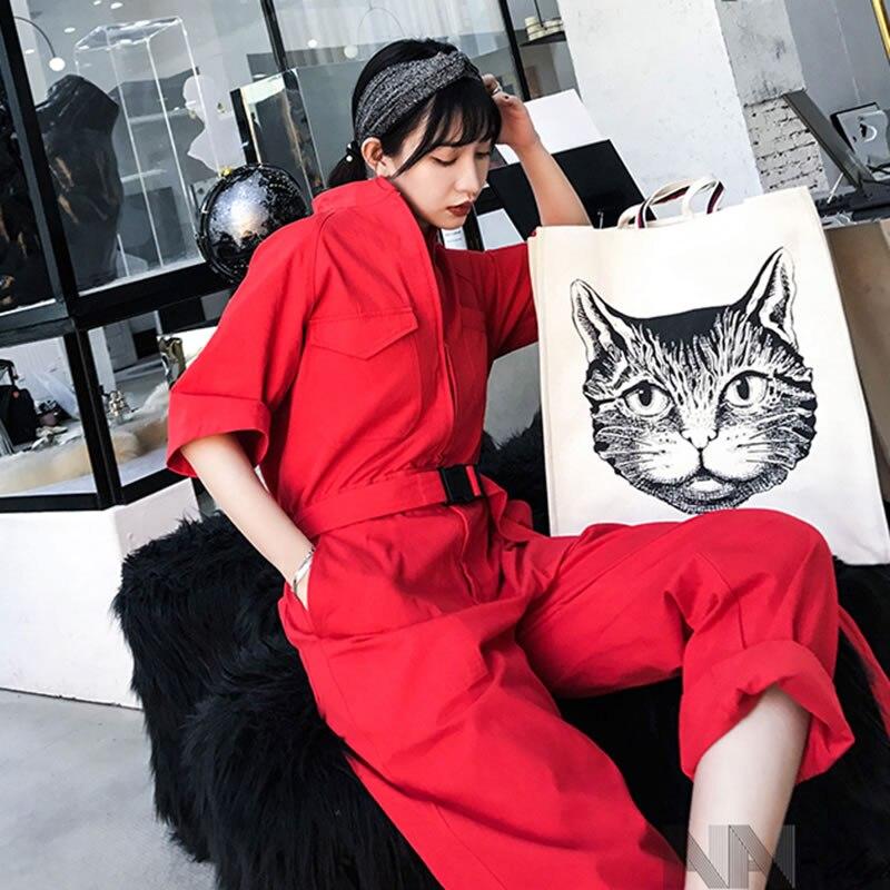 Solide De xitao Mode Poche Femmes Corée Zll3024 Été 2019 Casual Couleur Pleine Longueur Nouvelles Femelle Printemps Lâche Pantalon Red Combinaisons qq5w6SR