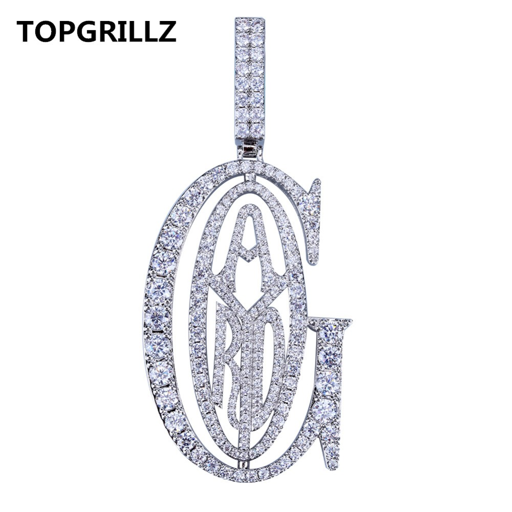 TOPGRILLZ Hip Hop  Rapper Tyga G ICE OUT Pendant Micro Pave CZ Design With Big Bail For Men Jewelry GiftTOPGRILLZ Hip Hop  Rapper Tyga G ICE OUT Pendant Micro Pave CZ Design With Big Bail For Men Jewelry Gift