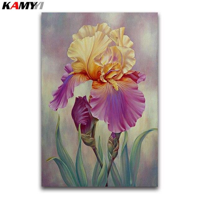 Completo redondo diamante mosaico de IRIS 5D DIY diamante pintura Cruz puntada púrpura flores lleno cuadrado diamante bordado Iris venta