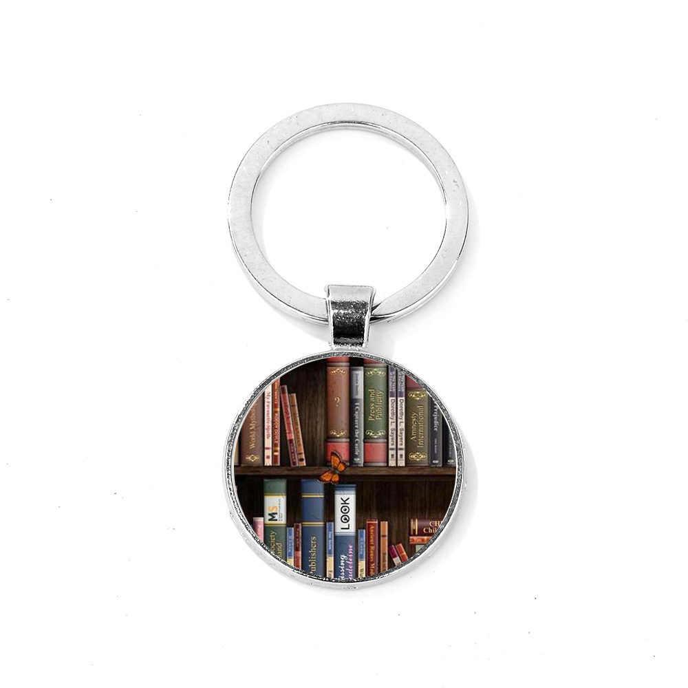LLavero de Libros Retro SIAN libro creativo y biblioteca arte impreso vidrio Domo llavero regalo para estudiantes profesores amantes de la literatura