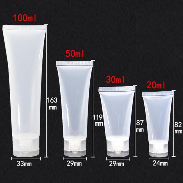 Empty Plastic Portable Tubes Squeeze Cosmetic Cream Lotion Travel Bottle  20ml 30ml 50ml 100ml Container Makeup Organizers