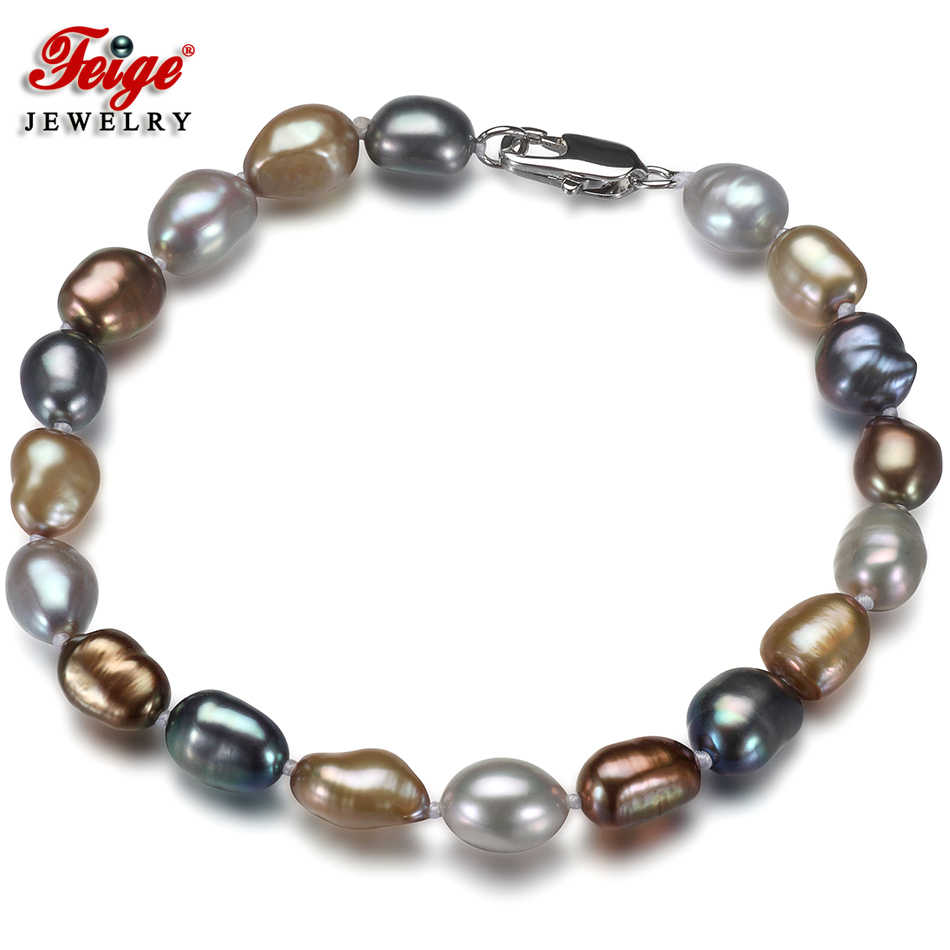 Feige Special offer Baroque style 7-8MM Multicolor Freshwater Pearl Strand Bracelets & Bangles For Women's Fine Pearl Jewelry