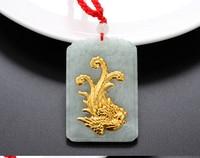 Een Grade Natuurlijke Witte Hetian 24 K Geel goud Dragon langwerpige Hanger Met Certificaat