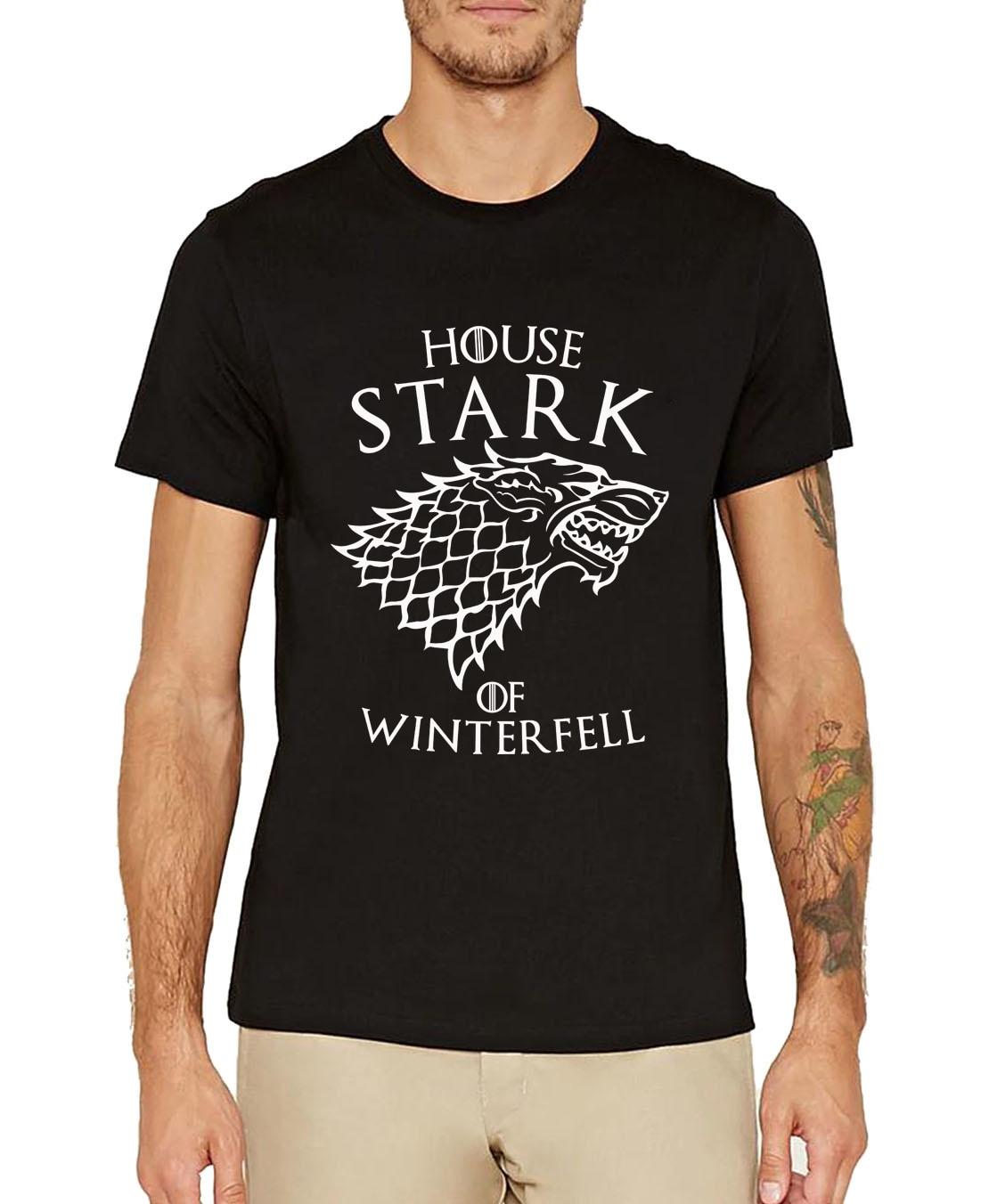 camisetas Game of Thrones men t-shirts house stark of winter fell print 2019 summer short sleeve cotton top tees shirt homme man