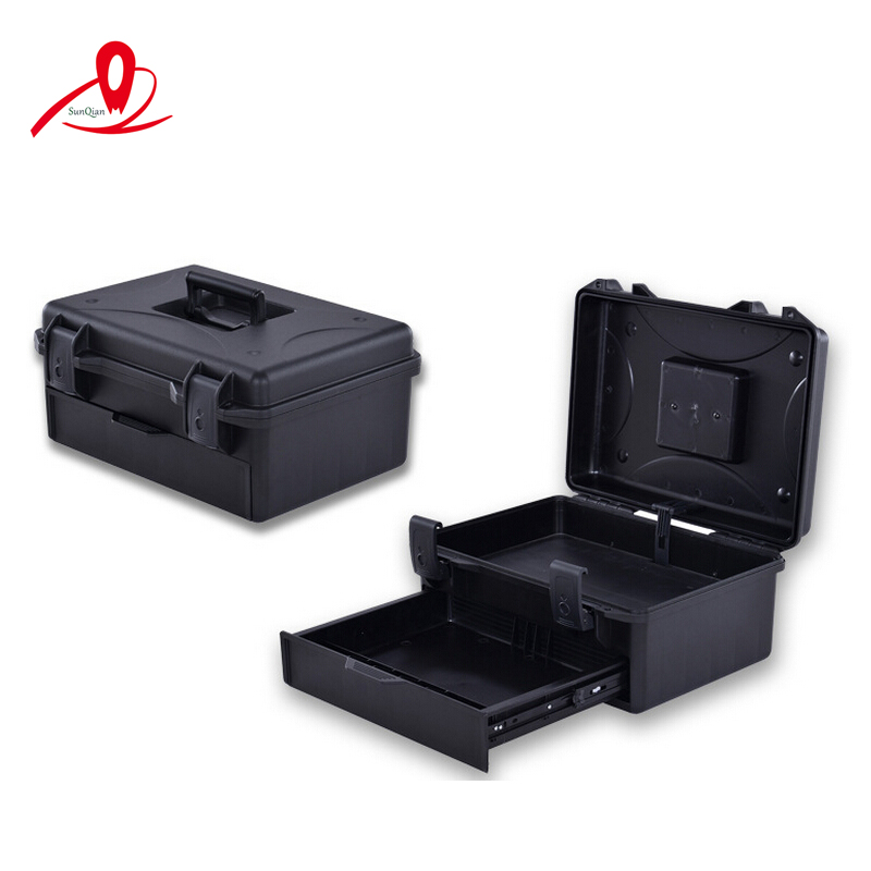 Draw-out type injection moulded suitcase for tools cover,with two layers