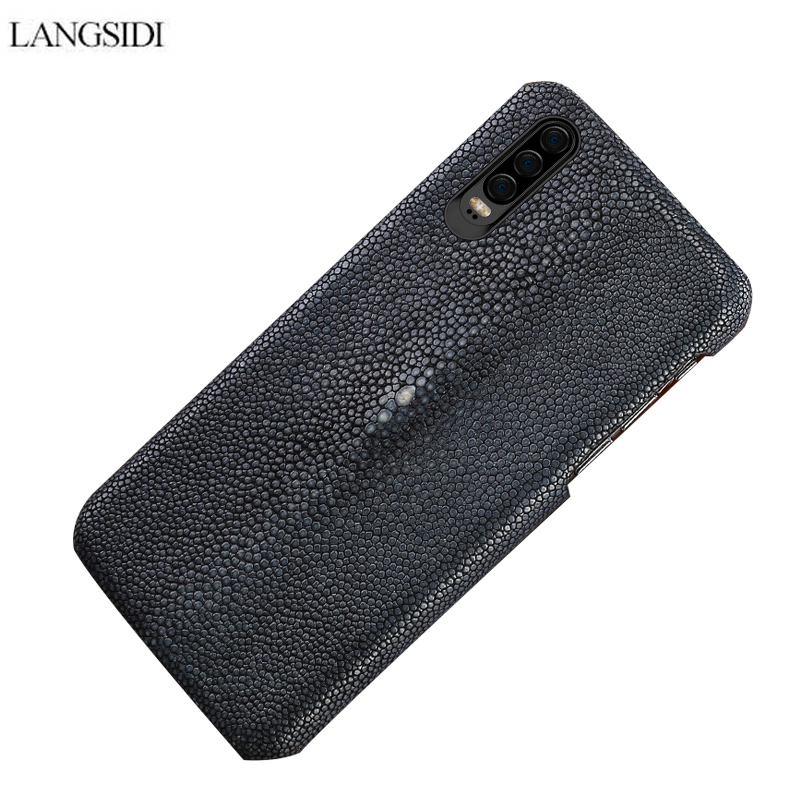 LANGSIDI Case For huawei p20 lite Genuine Stingray Leather cover Carcasa For huawei p20 pro P30 Real Leather Back Cover Carcas in Fitted Cases from Cellphones Telecommunications