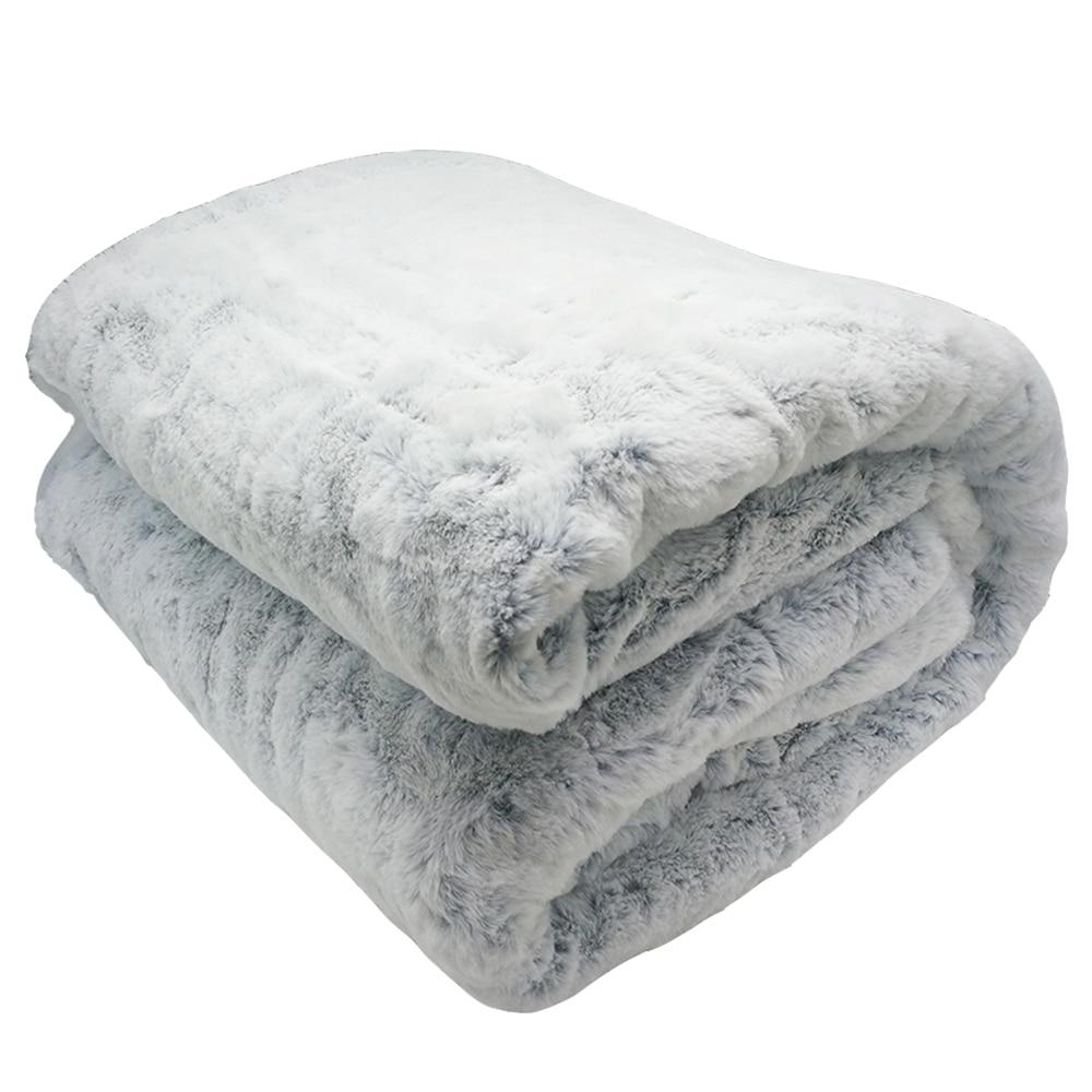 Draps de lit de luxe fausses couvertures en fourrure de lapin pour lits lit simple Double vison jeter des couvertures d'hiver