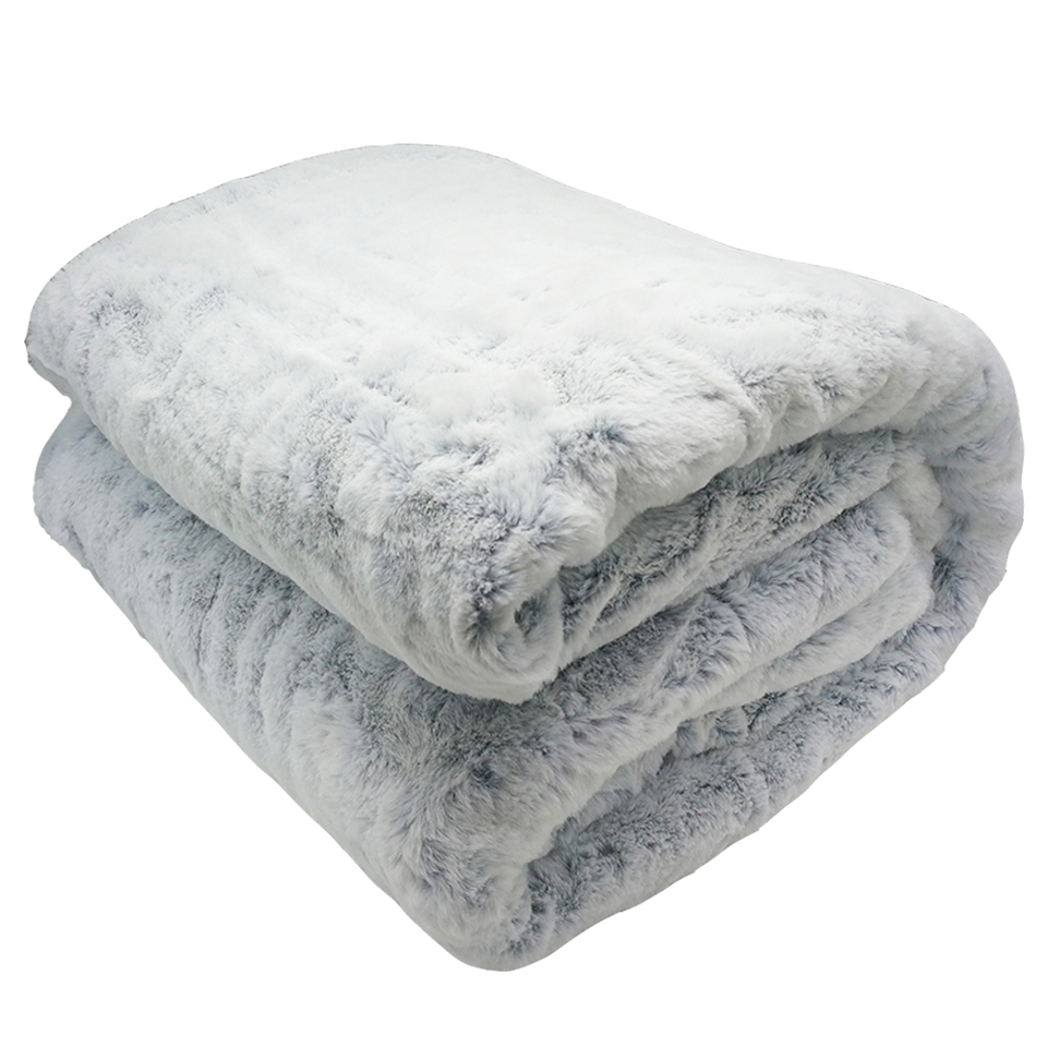 Luxury Soft Real Rabbit Rex Fur Throw Warm Large Sofa Bedspread Blanket King