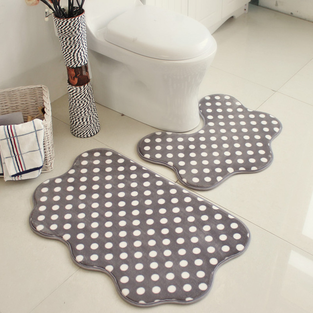 2pcsset Bathroom Floor Mat Flannel Anti slip Water absorbing Cloud