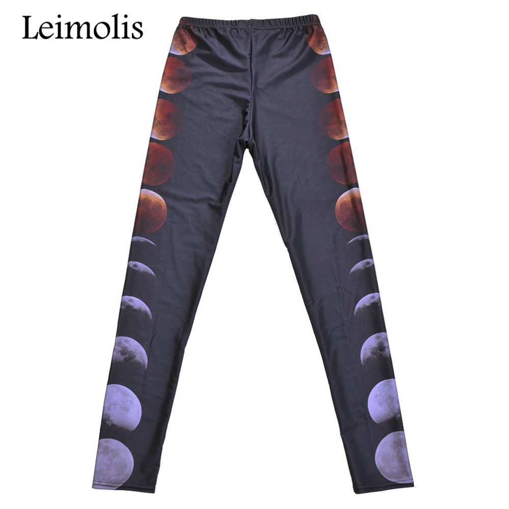 Leimolis 3D Printed Fitness Push Up Workout Leggings Women Gothic Moon Cycle Plus Size High Waist Punk Rock Pants