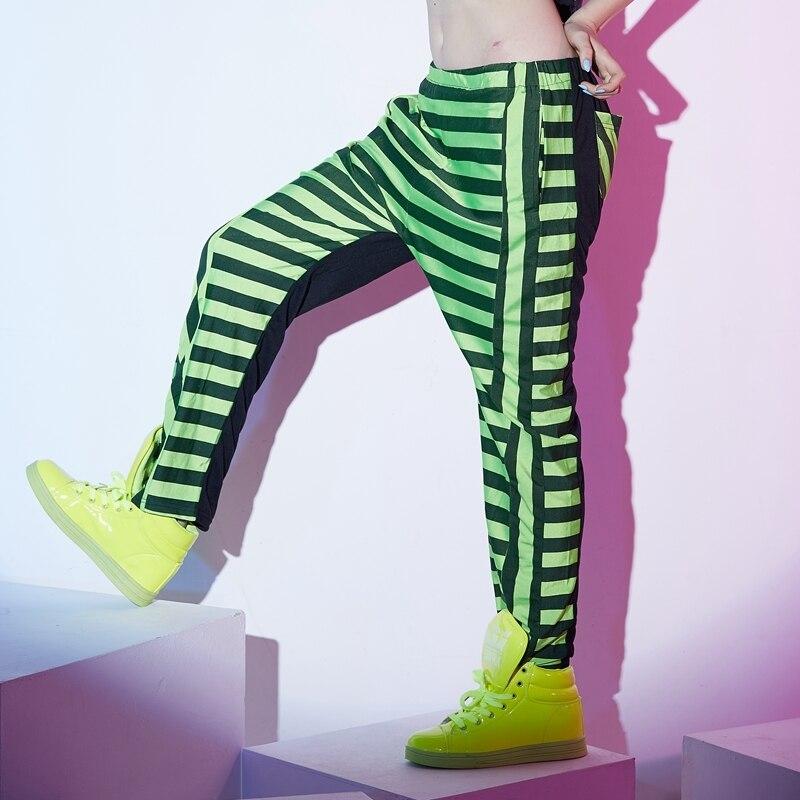 US $24.62 23% OFF|Ładne mody spodnie Harem Hip Hop taniec spodnie na co dzień spodnie dresowe kostiumy kobiet scen nosić neonowe Baggy spodnie jazzowe