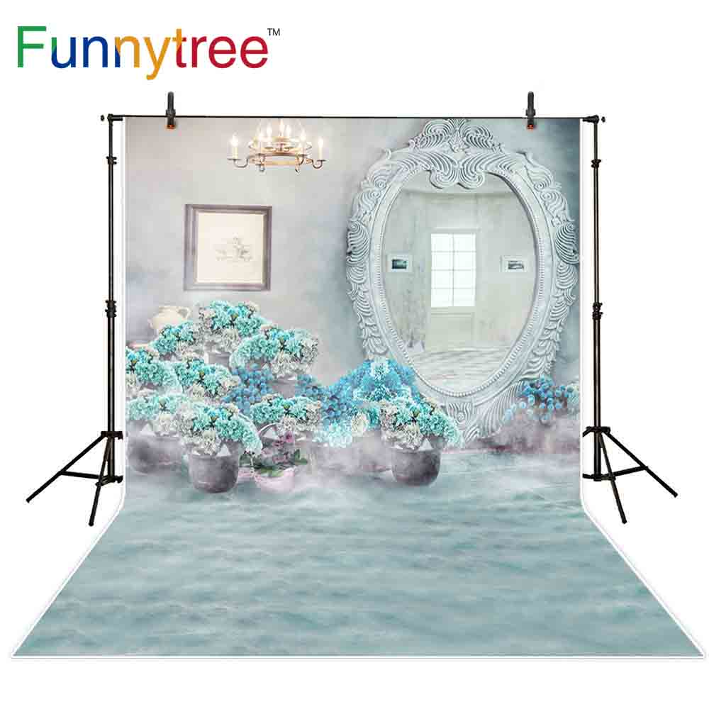 Us 931 33 Offaliexpresscom Buy Funnytree Backdrop Photocall Light Blue Flowers Window Wonderland Mirror Wedding Background For Photo Shoots