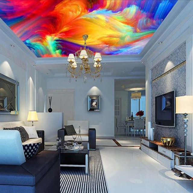 3D Color Palette Views Abstract Ceiling Wallpaper Mural