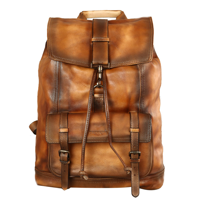 Mochila De marca Original hecha a mano, bolsa de piel de becerro importada italiana, bandolera doble de cuero auténtico Vintage de gran capacidad para hombres - 5