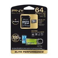 PNY 64GB MicroSD, 64 GB, MicroSD Class 10 UHS 100 MB / s Black White