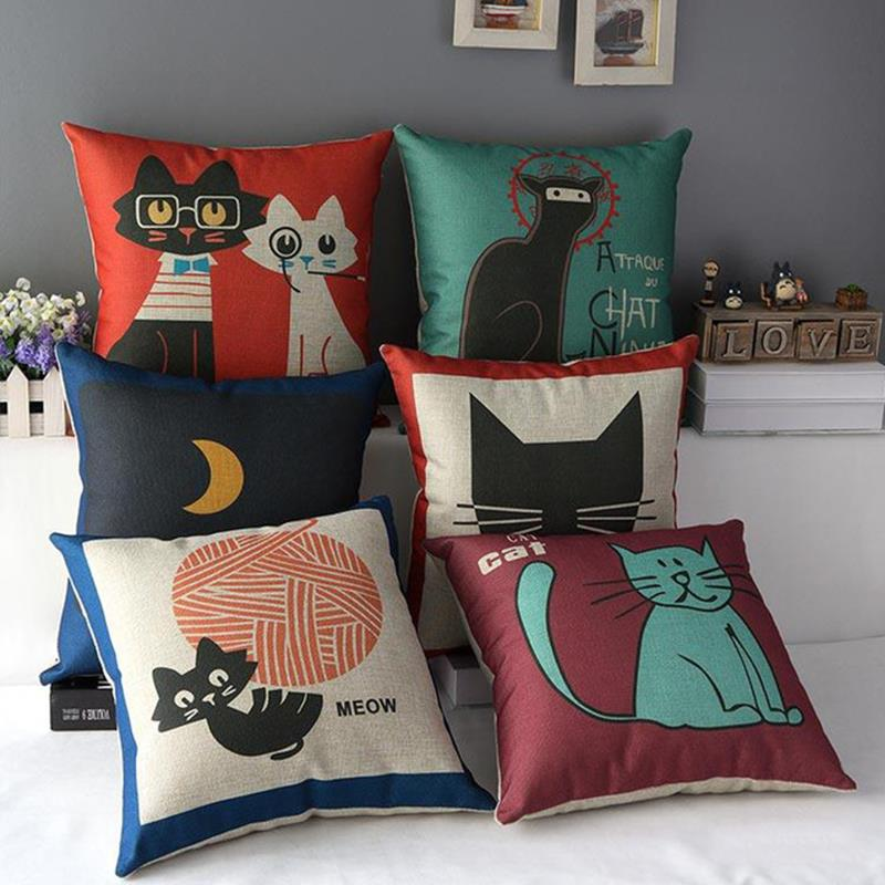 2015 cat pattern Decorative throw Pillows case Linen Cotton Cushion Cover Creative decoration for Sofa Car covers 45X45cm