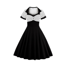 Comwarm 50s Vintage Polka Dots Patchwork Prom Bodycon Dresses Sexy Stylishly Pinup Rockabilly Cocktail Party Dress Costume