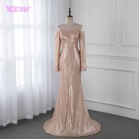 YQLNNE Off the Shoulder Prom Dresses Champagne Sequins Long Sleeve Formal Evening Gown Dress 2019