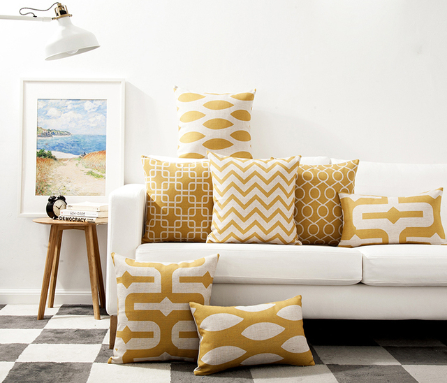 Free Shipping Ikat Yellow Geometric Zigzags Chevrons Squares Circles Pattern Cushion Cover Sofa Decorative Throw Pillow