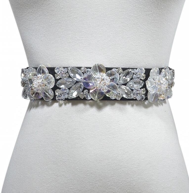 Women's Runway Fashion Rhinestone Beaded Elastic Cummerbunds Female Dress Corsets Waistband Belts Decoration Wide Belt R1400