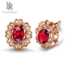 Begua Ringen Rose Gold Color Natural Ruby Stud Earrings For Women New Fashion Original 925 Silver Fine Jewelry Gifts
