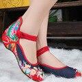 Nova moda Casual das Mulheres do Estilo Chinês Bordado Velho Pequim Nacional de Sola Macia Sapatos Único