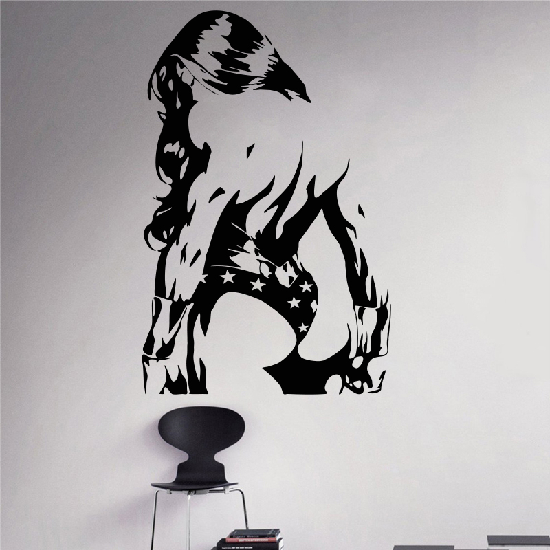 Creative DIY wall art home decoration Wonder Woman Wall Decal Superhero Vinyl Removable Sticker living room wall stickers #T201