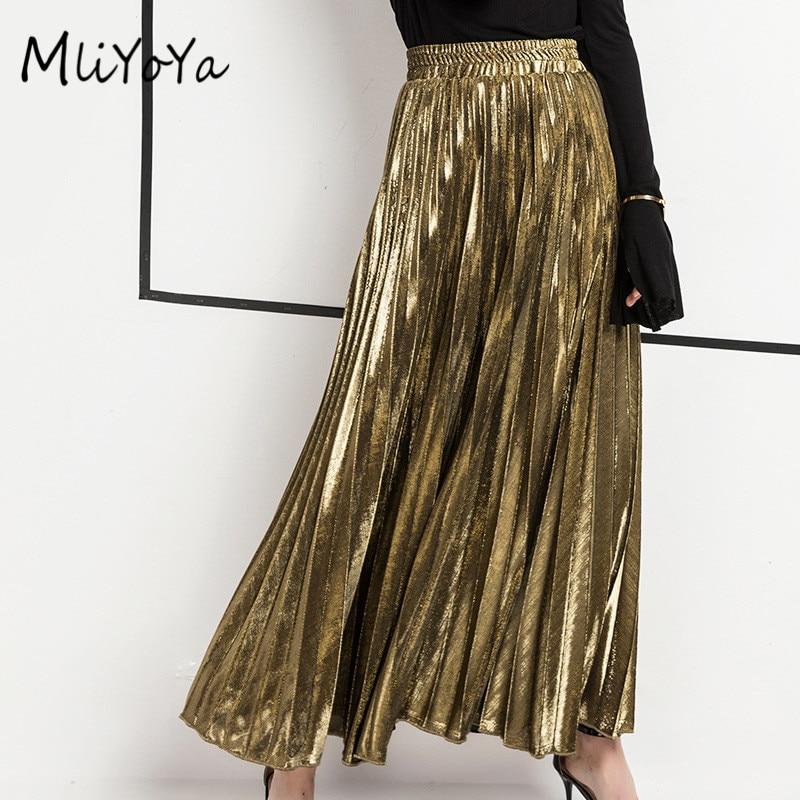 Mliyoya Store MLIYOYA New Spring Summer Women Skirts All Match Slim Skirt Gold Silver Ladies Casual Long Pleated Skirts