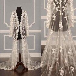 Ivoorwit Nieuwe Kant Bruids Jassen Lange Mouwen Bridal Coat Bruiloft Capes Wraps Bolero Jacket Wedding Dress Wraps Shrugs