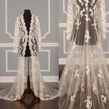 Ivory White New Lace Bridal Jackets Long Sleeves Coat Wedding Capes Wraps Bolero Jacket Dress Shrugs