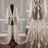 Ivory White New Lace Bridal Jackets Long Sleeves Bridal Coat Wedding Capes Wraps Bolero Jacket Wedding Dress Wraps Shrugs