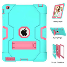 For Apple iPad2 iPad3 iPad4 Kids Safe Armor Shockproof Heavy Duty Silicon+PC Sta