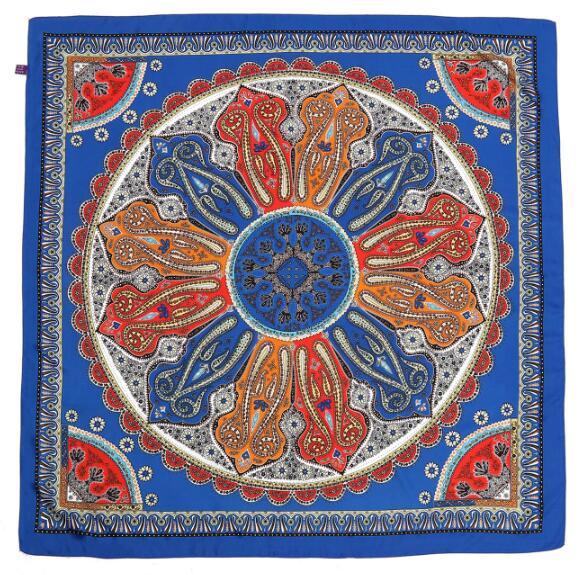 New style women silk summer geometric print scarf 110*110cm