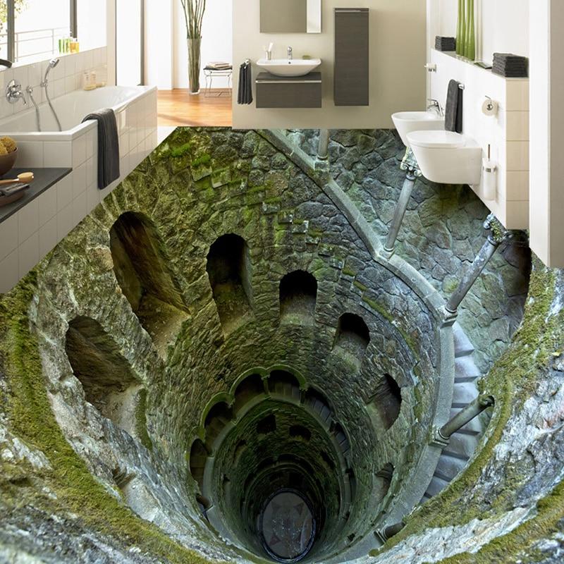 3D Stereo Super Shock Mine Floor Painting Mural Photo Wallpaper Living Room Bathroom PVC Waterproof Papel De Parede 3D Paisagem