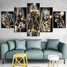 5 Piece Abstract Art Pictures Dragon Ball Anime Poster Goku Picture Vegetto Cartoon Paintings Canvas Art for Home Decor Wall Art