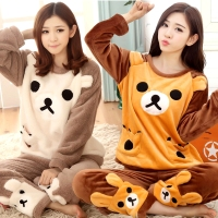 Anime woman Adult Rilakkuma Bear character O Neck pajamas flannel winter home sleepwear cloth's set Tops+Pants