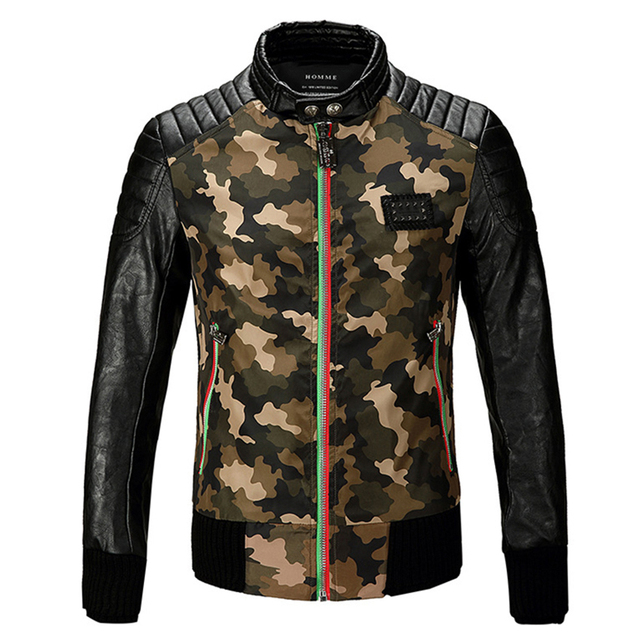 High Quality New Spring Brand Mens Fashion Slim Fit Camouflage Pilot Leather Jacket Men Faux Fur PU Designer Motorcycle Jackets