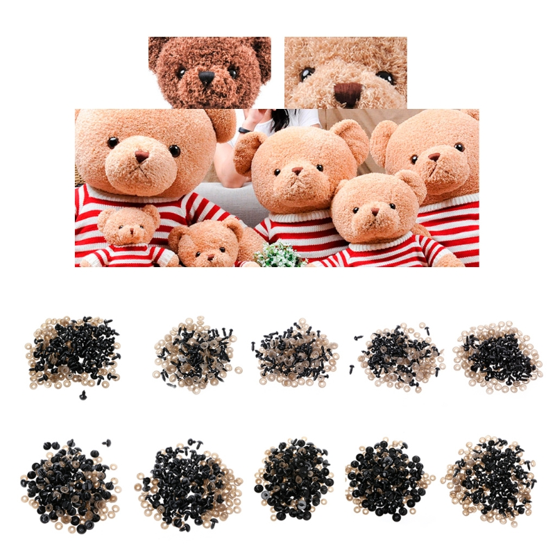 100Pcs/Bag DIY Doll Toy Eyes Black Plastic Safety Eyes Puppets With Washers 5mm,6mm,8mm,9mm,10mm,12mm,14mm,16mm,18mm,20mm 100set box 10mm 12mm plastic craft toy doll eyes safety eyes handmade accessories children diy creative toys dolls accessories