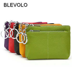 BLEVOLO Luxury Real Leather Short Wallet Mini Zipper Soft Purses Key Bags Unisex Coin Purse Gift For Money Pocket Thin Wallets(China)
